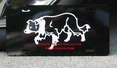 Border Collie Crouching Aluminum License Plate
