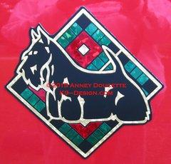"""Scottish Terrier Plaid Diamond 8"""" Magnet - Choose Colors"""