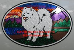 "American Eskimo Dog ""Colorado"" XL Oval Magnet"