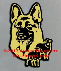 German Shepherd Dog Headstudy With Sheep Magnet - Choose Color