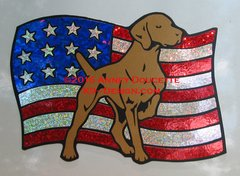 Vizsla on USA Flag Magnet