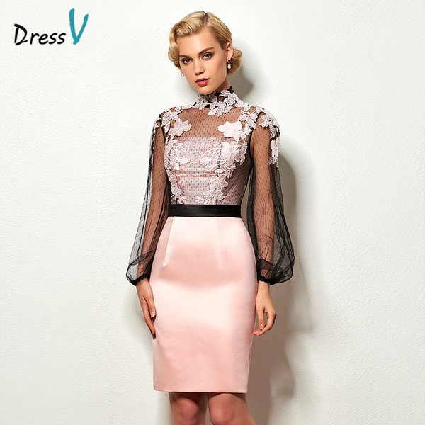 Wholesale Dressv light pink short cocktail dress high neck long ...