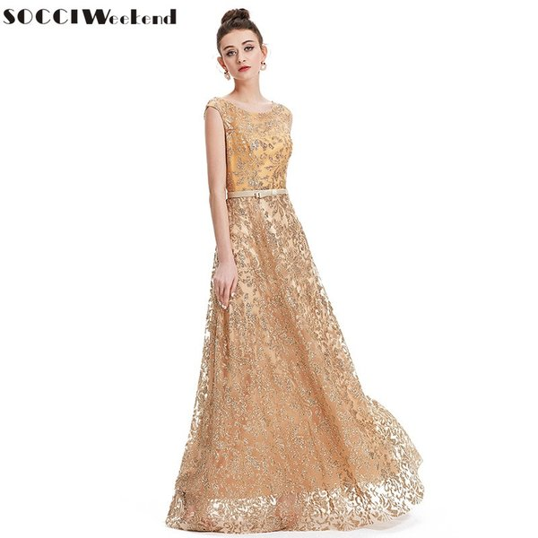 Wholesale SOCCI Weekend 2017 Vintage Gold Embroidery Evening Dresses ...
