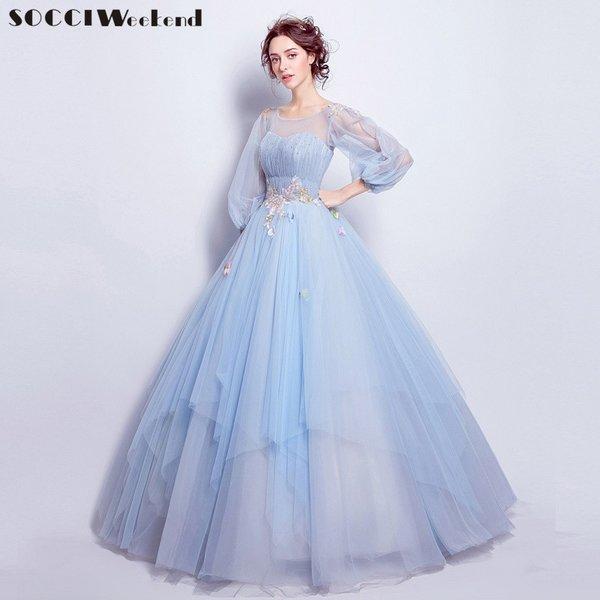Wholesale SOCCI Weekend Sky Blue Long sleeves Evening Dress formal ...
