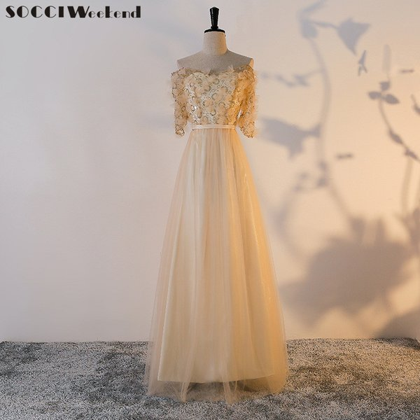 Wholesale SOCCI Weekend Long Tulle Lace Gold Evening Dress 2017 Off ...