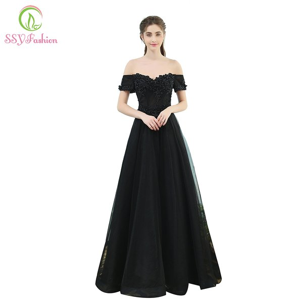 Wholesale SSYFashion The Banquet Elegant Black Lace Evening Dress ...