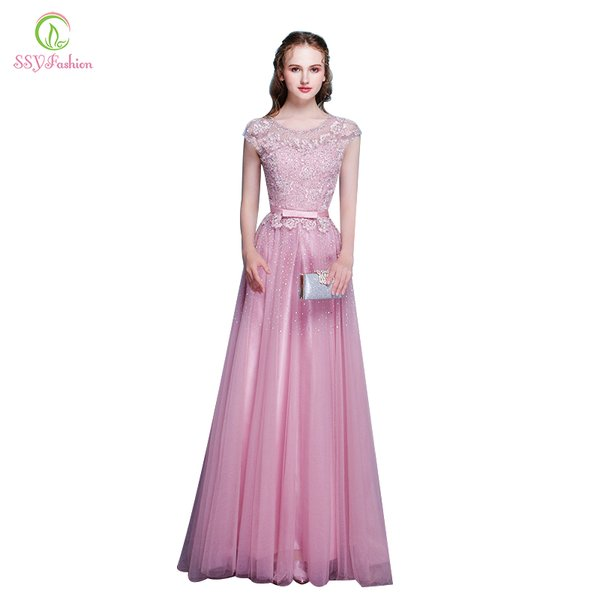 Wholesale SSYFashion New Arrival Pink Lace Beading Long Evening ...