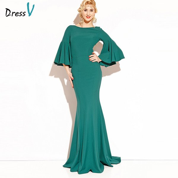 Wholesale Dressv emerald green long 2017 evening dress 3/4 sleeves ...