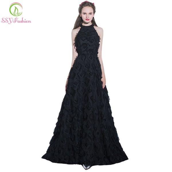 Wholesale SSYFashion New Simple Elegant Black Long Evening Dress ...