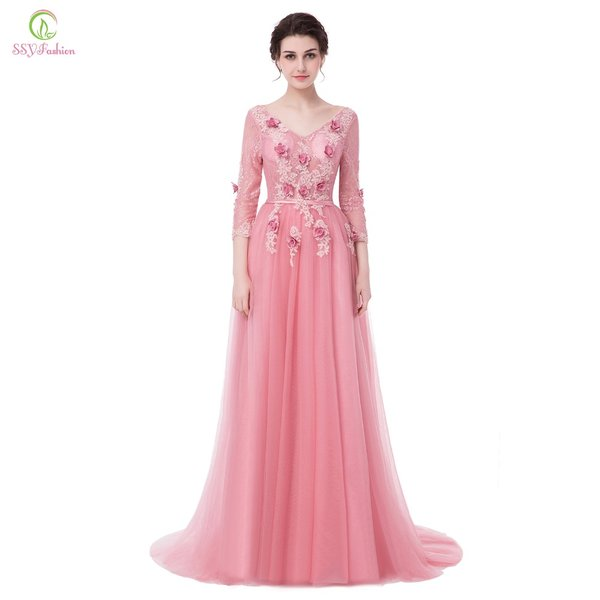 Wholesale SSYFashion New Evening Dress Bride Sweet Pink Lace Flower ...