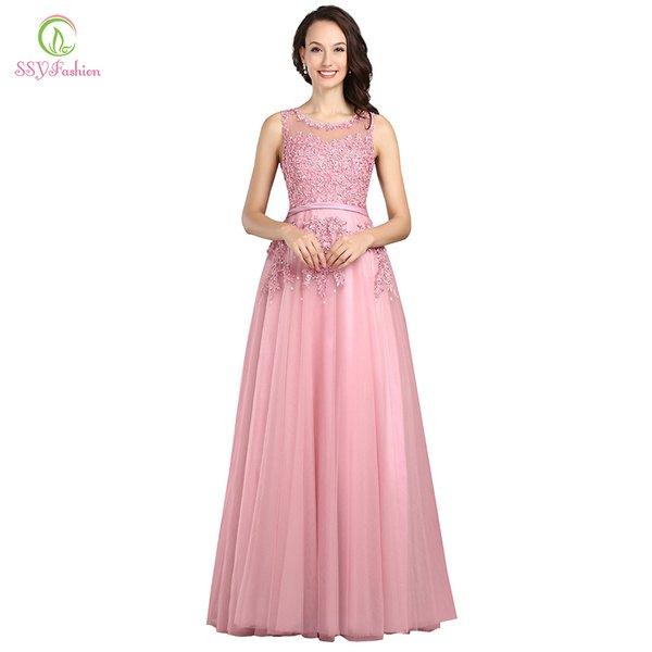 Wholesale Robe De Soiree SSYFashion Sweet Pink Lace Beading Long ...