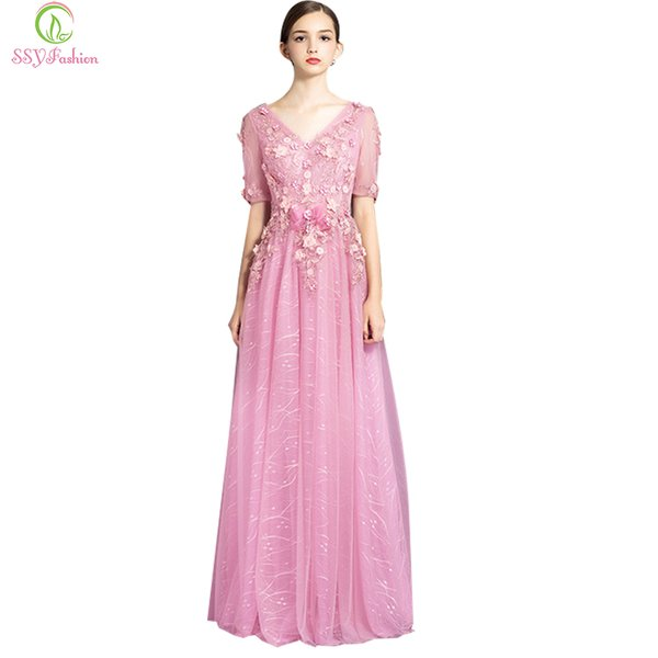 Wholesale SSYFashion Robe De Soiree Evening Dress Pink Lace Flower ...