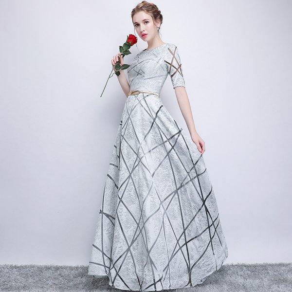 Wholesale SSYFashion New Simple Prom Dress The Banquet Elegant Grey ...