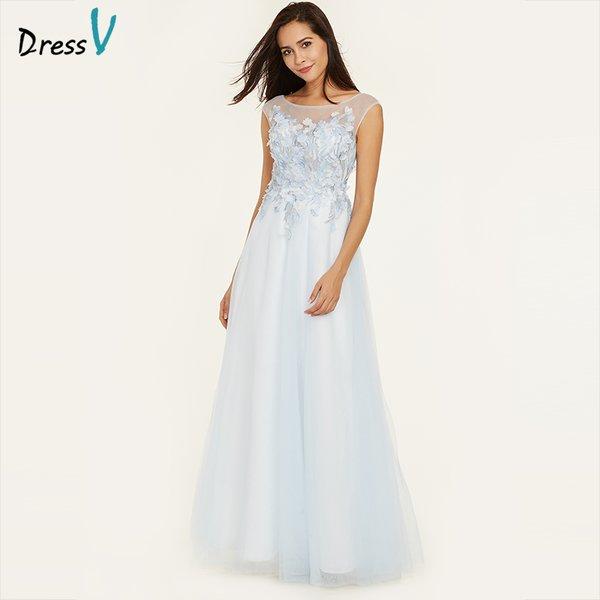 Wholesale Dressv ice blue evening dress a line cap sleeves cheap ...