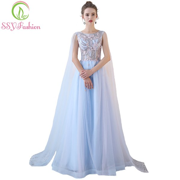 Wholesale SSYFashion New Sweet Light Blue Lace Evening Dress The ...