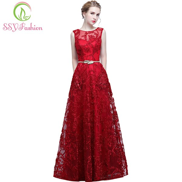 Wholesale SSYFashion New The Bride Elegant Banquet Red Lace Evening ...