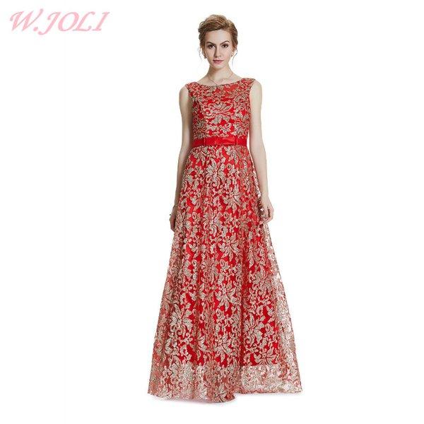 Wholesale W.JOLI New Embroidery Glitter Bling Evening Dress 2017 ...