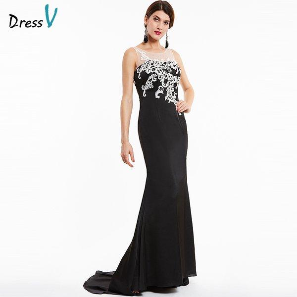Wholesale Dressv black long evening dress scoop neck sweep train ...