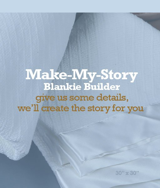 Easy order make my story custom baby blanket 30x30 white easy order make my story blankie builder white 100 cotton blanket w 2 inch satin edge 30x30 negle Images