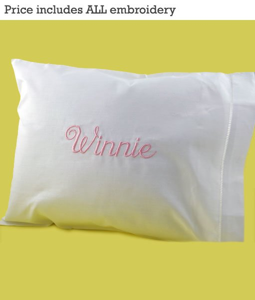 Baby pillow 12x16 with custom embroidered linen case custom 12 x 16 baby pillow w personalized irish linen pillowcase includes monogramming organza bag negle Gallery