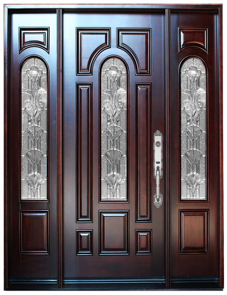 Natural Mahogany Prefinished Solid Wood Prehung Front Door #M280A-1d2s-80