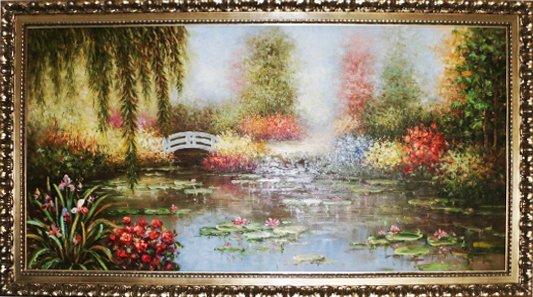 """Huge Oil Painting Summer Garden 78"""" x 42"""" x 1 3/4"""""""