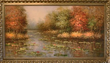 """Huge Oil Painting Lotus and Tree 78"""" x 42"""" x 1 3/4"""""""
