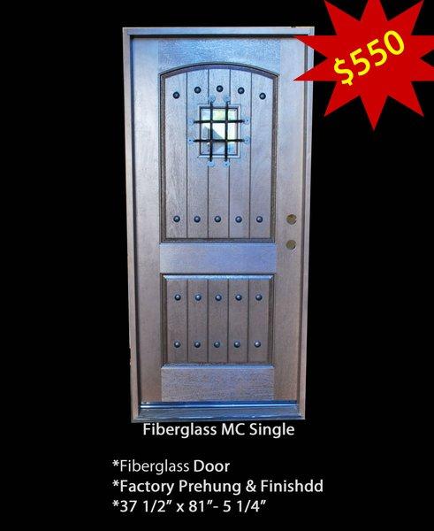 """Exterior Entry Fiberglass Door #MC Sigle 36"""" X 80"""""""