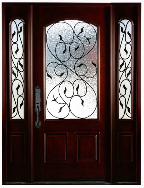 Natural Mahogany Prefinished Solid Wood Prehung Front Door #M002-1d2s80