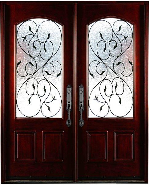 Natural Mahogany Prefinished Solid Wood Prehung Front Door #M002-DBL-80