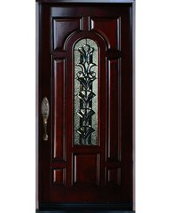 Natural Mahogany Prefinished Solid Wood Prehung Front Door #M280A-SBL80