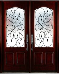 Natural Mahogany Prefinished Solid Wood Prehung Front Door #M002-DBL-80