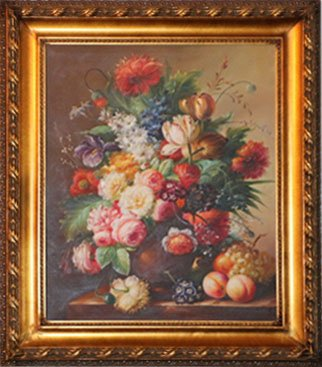 "Oil Painting Flower and Fruits 30 1/2"" x 26 3/4"" x 2"""