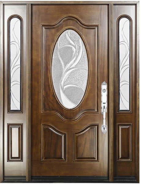 Natural Mahogany Prefinished Solid Wood Prehung Front Door #M800G -80-1d2s