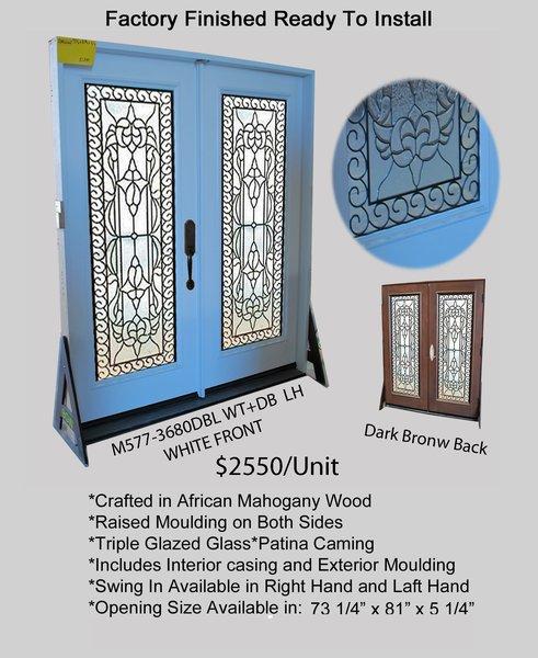 """Exterior Entry Wood Door #577 DBL 36"""" X 80"""""""