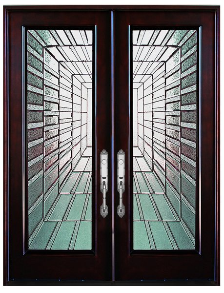 Mahogany Prefinished Solid Wood Door #M300I-dbl80""