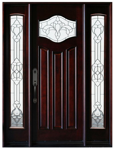 Natural Mahogany Prefinished Solid Wood Prehung Front Door #MP-1D2S80