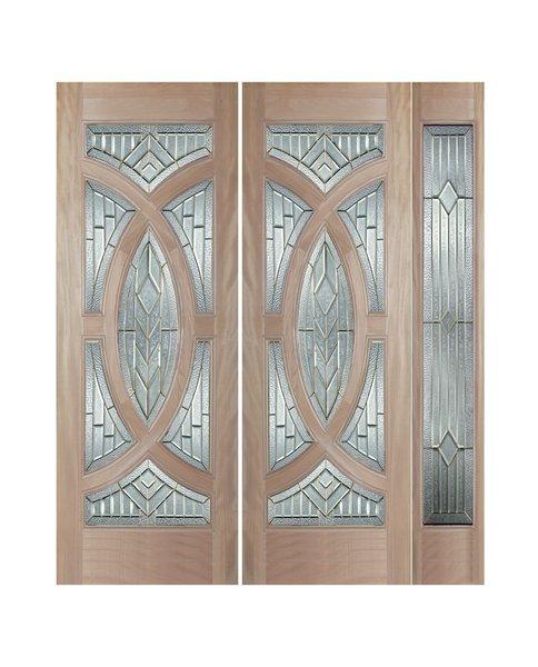 "Exterior Entry Wood Slab Door No Paint #M705-H80"" 2d + 1s"