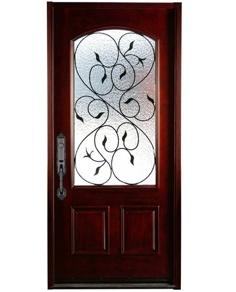 Natural mahogany prefinished solid wood prehung front door for Natural wood front door