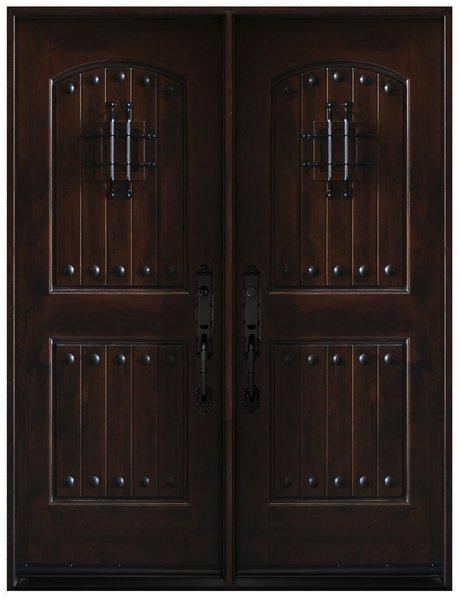 Natural Knotty Alder Distressed Prefinished Solid Wood Prehung Front Door #KA-MCD-DBL80