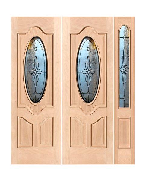 "Exterior Entry Wood Slab Door No Paint #M800-H80"" 2d + 1s"
