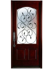 Natural Mahogany Prefinished Solid Wood Prehung Front Door #M002-SGL80
