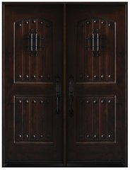 Natural Knotty Alder Distressed Prefinished Solid Wood Prehung Front Door #KA-MCD-DBL80