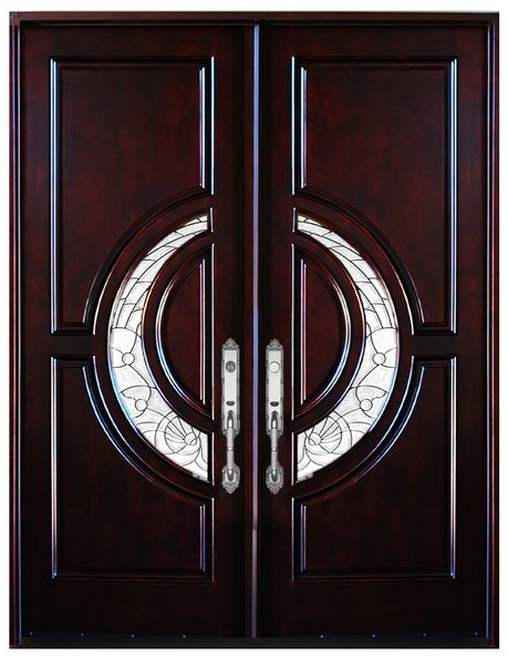 Natural Mahogany Prefinished Solid Wood Prehung Front Door #580E