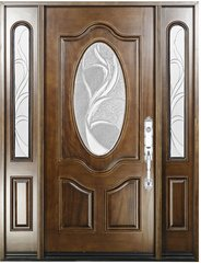 Natural Mahogany Prefinished Solid Wood Prehung Front Door #M800G -80-1d2s