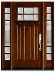 Natural Mahogany Prefinished Solid Wood Prehung Front Door #MK-Hunt-1d2s80
