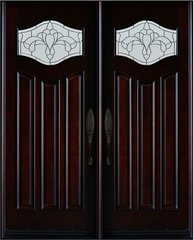 Natural Mahogany Prefinished Solid Wood Prehung Front Door #MP- Dbl80