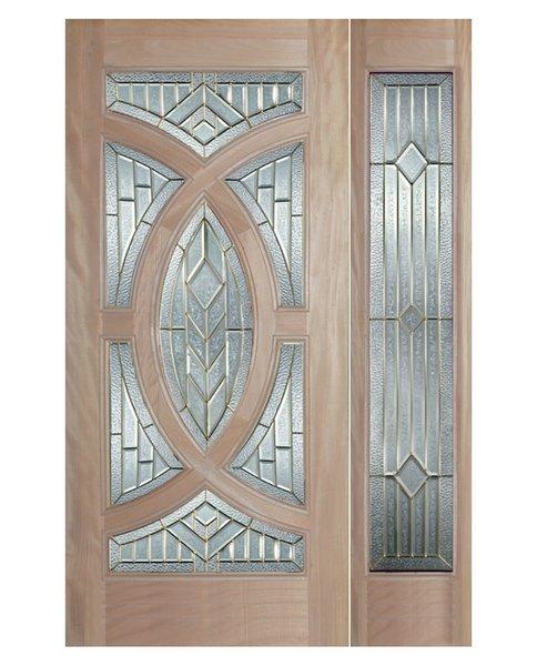 "Exterior Entry Wood Slab Door No Paint #M705-H80"" 1d + 1s"
