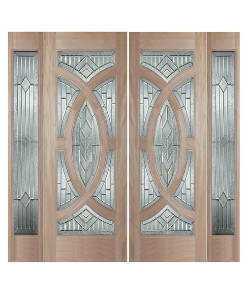 "Exterior Entry Wood Slab Door No Paint #M705-H96"" 2d + 2s"