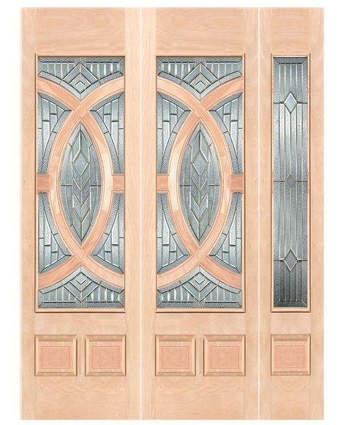 "Exterior Entry Wood Slab Door No Paint #M680-H96"" 2d + 1s"